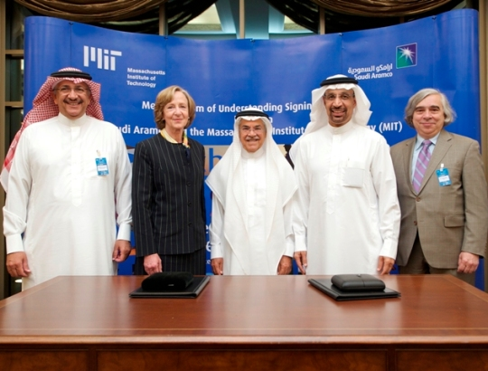 MIT President Susan Hockfield and Saudi Aramco President and CEO Khalid A. Al-Falih signed a memorandum of understanding (MOU) on June 18, 2012, in Dhahran, Saudi Arabia, providing a framework that will greatly expand the research and education partnership between MIT and Saudi Aramco. From left: Abdullatif A. Al-Othman, Susan Hockfield, Ali I. Al-Naimi, Khalid A. Al-Falih and MIT physicist Ernest Moniz (nominee for Secretary of  Energy).