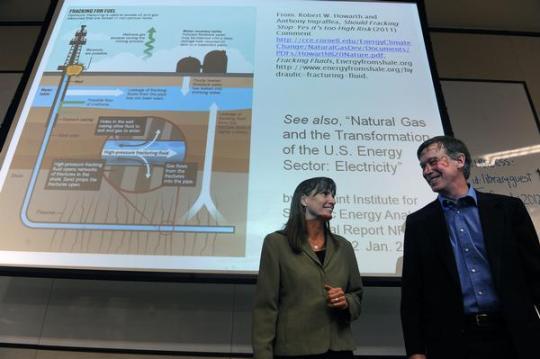 Colorado Gov. John Hickenlooper, right, and Boulder County Commisioner Elise Jones, thanked each other after a April 1, 2013, debate. (THE DENVER POST | Helen H. Richardson)