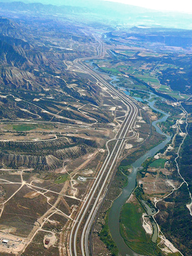 Drilling in Garfield County, CO brackets the Colorado River. Photo courtesy: Endocrine Disruption Exchange