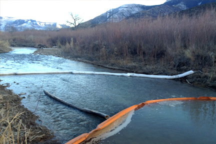 Absorbent booms on Parachute Creek [COGCC photo]