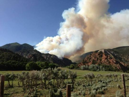 Brush Creek fire 12 miles north of rifle [photo by Colorado River Fire Rescue]