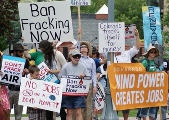 Anti-fracking protesters demonstrated outside the Democratic Governors Association meeting at the St. Regis in Aspen on July 13