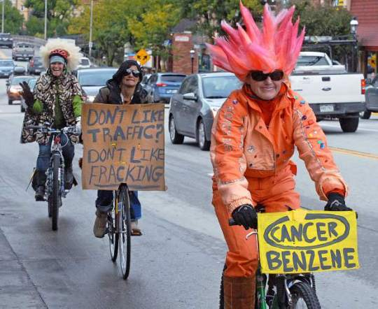 Friday afternoon, more than a dozen cyclists pedaled over Grand Avenue and around Glenwood Springs as a form of protest against the possible use of Four Mile Road, Grand Avenue and other local streets as haul routes for oil and gas traffic. [Kelley Cox - Post Independent]