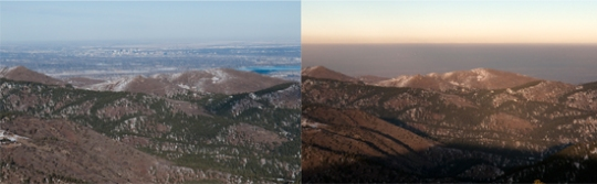 The brown cloud covering highly populated parts of the Front Range is the visible part of air pollution, but unseen ozone is most dangerous to health. In the first photo, a clear view from the mountains looking east to the Denver Metro area. The second shot is the same view, obstructed by the brown cloud. [Photos by Robert D. Tonsing/Colorado Public News.]