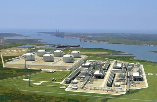 Cheniere Energy has secured $5.4 billion in funding to build the country's first LNG export facility in Louisiana. [Rendering courtesy of Cheniere energy]