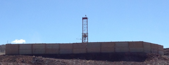 Ursa's drilling rig behind the sound wall on the Frei A pad south of Coal Ridge High