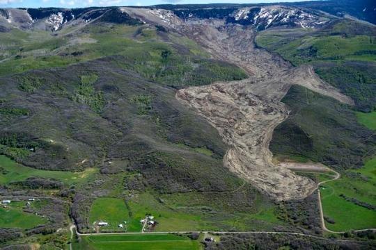 Aerial view of the Mesa County Mudslide from a plane flown by John Stanley The Mesa County Mudslide, which occurred on Sunday evening, is 3 miles long and a half mile wide and from 30 to 250 feet deep. Photographed on Monday, May 26, 2014. [Aaron Ontiveroz, The Denver Post]