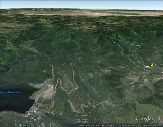 Proximity of slide to Vega Reservoir