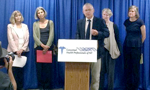 On July 10, CHPNY presented the Compendium of Scientific, Medical and Media Findings Demonstrating Risks and Harms of Fracking. From L to R Sheila Bushkin-Bedient, MD, MPH; Michelle Bamberger, MS, DVM; Robert Oswald, PhD; Kathleen Nolan, MD, MSL; Sandra Steingraber, PhD