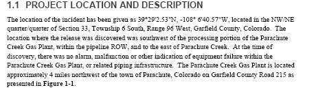 Source: Shaw Environmental, Inc. (a CB&I Company), Data Summary Report, CDPHE Incident Number 2013-0161, NGL Release at the Parachute Facility, Parachute, Colorado, November 21,2013, prepared for Williams Bargath, LLC.