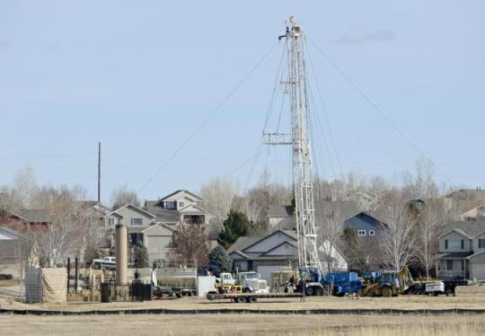 A drilling rig is seen Thursday in the Eagle Valley subdivision in Weld County. Go to timescall.com for more photos. (Matthew Jonas / Staff Photographer)