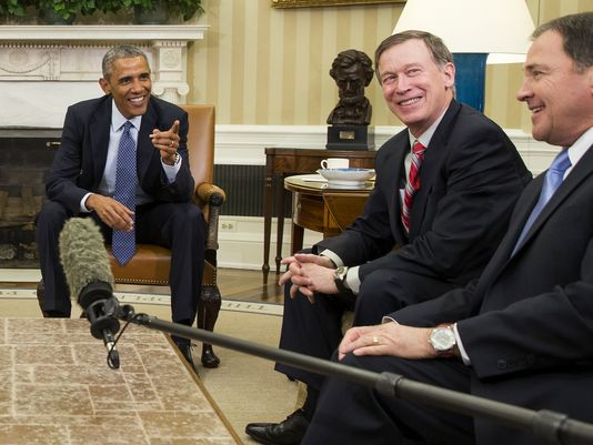 Governor Hickenlooper with President Obama and Utah Governor Gary Herbert in the Oval Office in January 2015. [Photo: AP Photo/Evan Vucci]