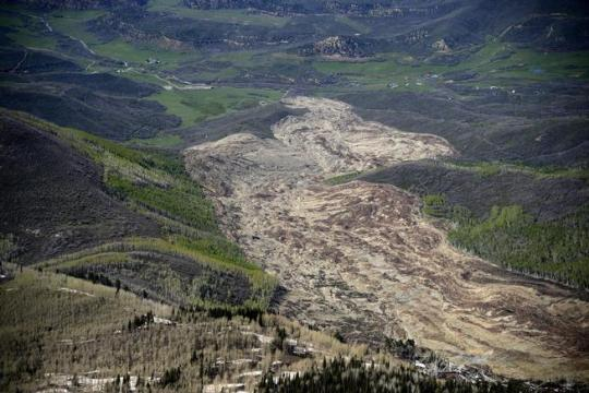 An aerial view of the Mesa County mudslide that was photographed on Monday, May 26, 2014. (AAron Ontiveroz, Denver Post file)