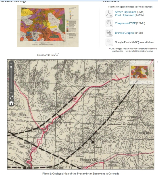 "Bob Arrington submitted this USGS map screen capture. Bob says: ""This area is an area marked as 'unmapped bedrocks.' However they have mapped some major fault lines in that bedrock. See black dashed lines."" Click on image to enlarge. [Source: USGS National Geologic Map Database]"