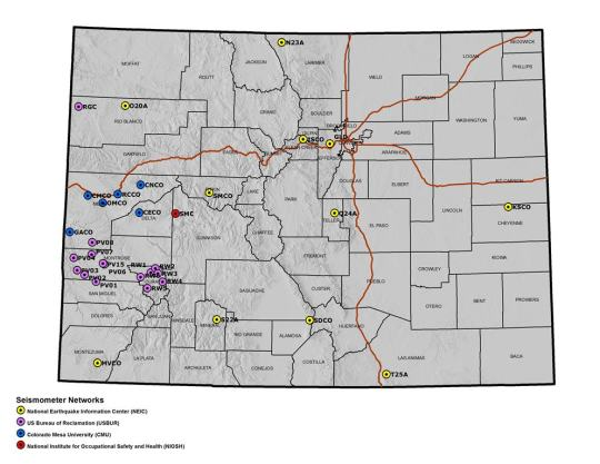 Seismic network coverage in Colorado: 2015 publically accessible seismographs [Source: Colorado Geological Survey]