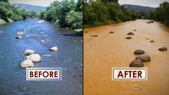 Animas River, Colorado before and after 3 million gallons of toxic mining waste spilled on August 5, 2015