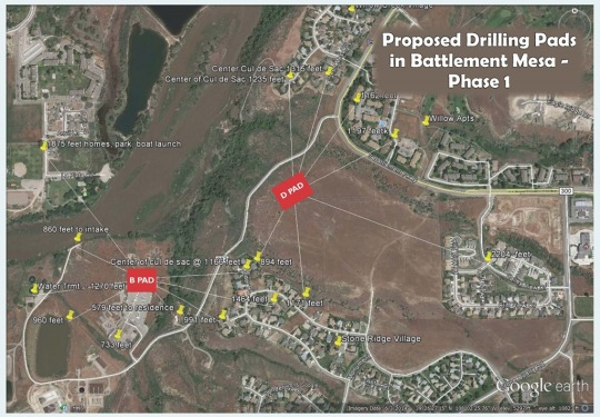 "Map of the two well pads in ""Phase 1"" of Ursa's proposal to develop minerals under Battlement Mesa. The closest residence is within 579 feet."