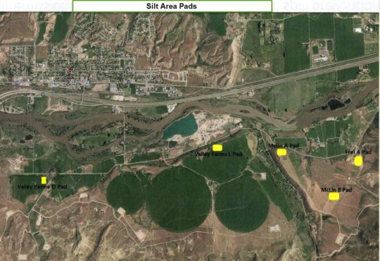 Map of Ursa well pads south of Silt. The Valley Farms O pad was completed last summer.