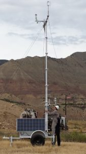 Research associate Kira Shonkwiler and former CSU student Landan MacDonald (M.S. '14) set up the meteorological station upwind of a well pad. {Source: CSU]